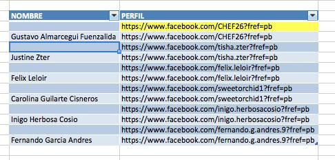 Exportar Fans Facebook Excel