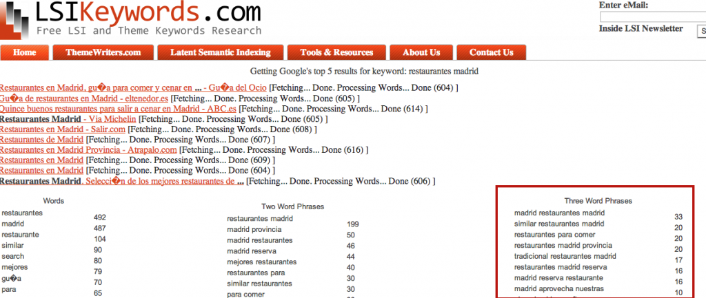 Indexacion semantica latente - restaurantes en madrid