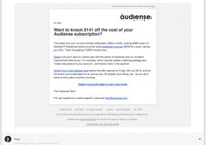 Ejemplo email nurturing audiense