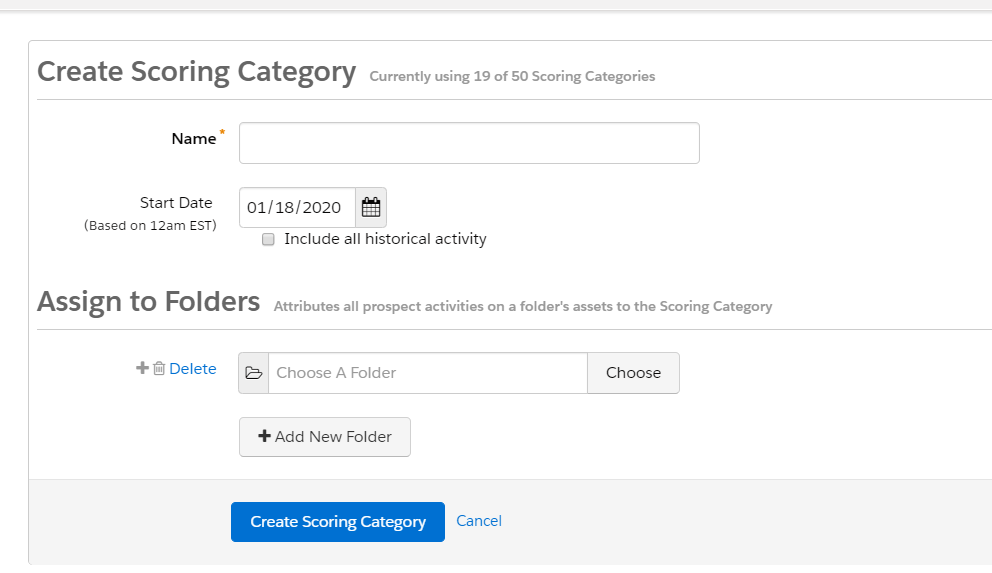 Pardot Scoring categories
