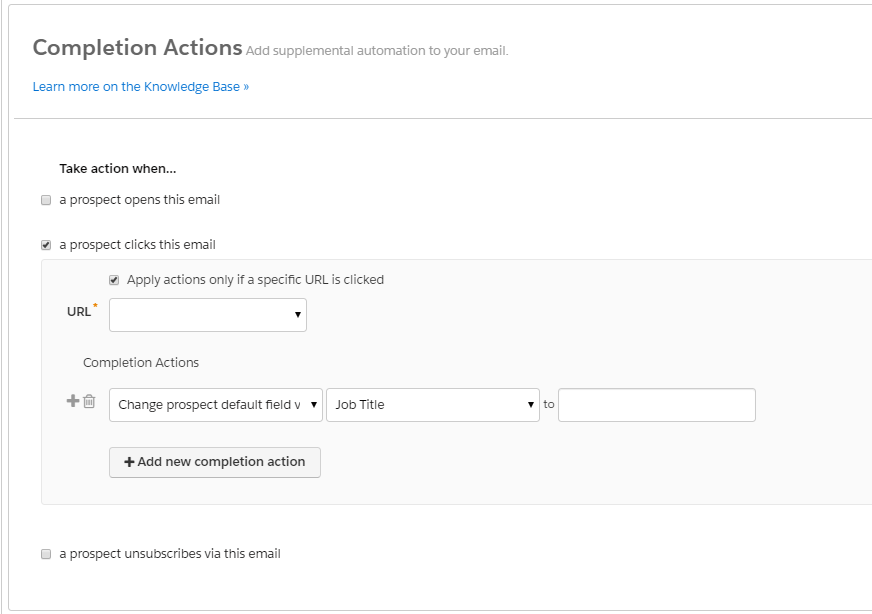 completion actions emailing Pardot